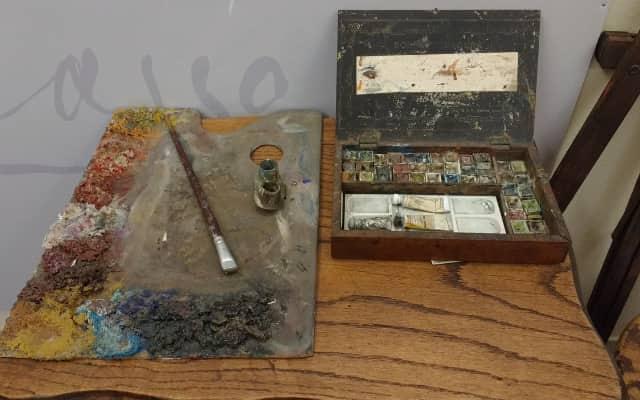 コルーニャのピカソの家にある絵具
