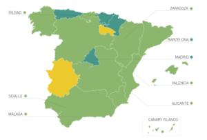 スペイン各都市の英語能力レベルマップ