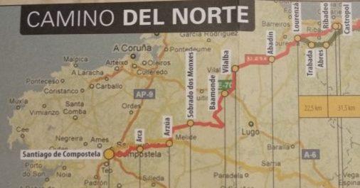 ガリシア州内北の道ルートマップ