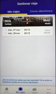 ライアンエアー公式アプリManage Booking画面