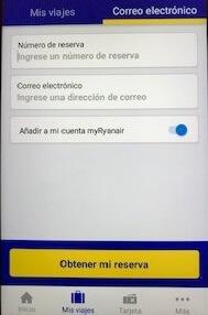 ライアンエアーアプリ予約情報入力画面