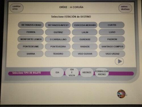 ガリシア語のチケット購入画面
