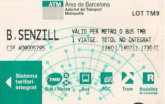 Billete sencillo barcelona