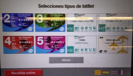 バルセロナの切符購入画面