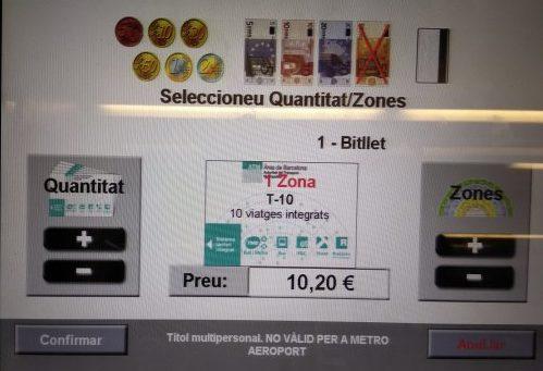 バルセロナの切符T-10購入画面