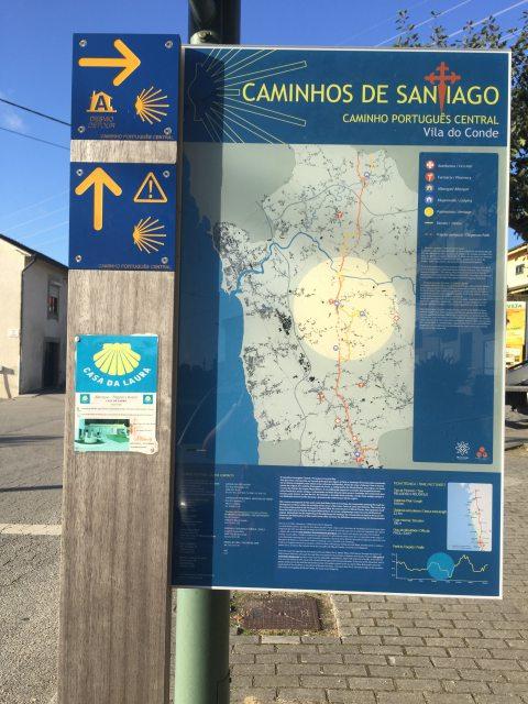 ポルトガルの道巡礼路と迂回路の標識